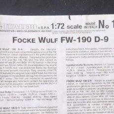 Maquetas: INSTRUCCIONES DE MONTAJE DEL FOCKE WULF FW-190 D-9 DE ITALERI. ESCALA 1/72. Lote 293851308