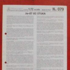 Maquetas: INSTRUCCIONES DE MONTAJE DEL JUNKERS JU-87 B-2 DE ITALERI. ESCALA 1/72. Lote 293851323