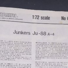 Maquetas: INSTRUCCIONES DE MONTAJE DEL JUNKERS JU-87 A-4 DE ITALERI. ESCALA 1/72. Lote 293851338