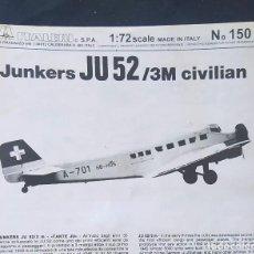 Maquetas: INSTRUCCIONES DE MONTAJE DEL JUNKERS JU-52-3M DE ITALERI. ESCALA 1/72. Lote 293851343