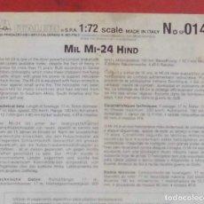 Maquetas: INSTRUCCIONES DE MONTAJE DEL MIL MI-24 DE ITALERI. ESCALA 1/72. Lote 293851368