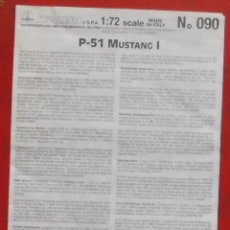 Maquetas: INSTRUCCIONES DE MONTAJE DEL NORTH AMERICAN P-51 MK.I DE ITALERI. ESCALA 1/72. Lote 293851383