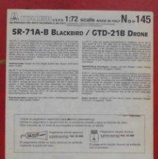 Maquetas: INSTRUCCIONES DE MONTAJE DEL LOCKHEED SR.71A/B DE ITALERI. ESCALA 1/72. Lote 293851403