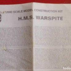 Maquetas: INSTRUCCIONES DE MONTAJE DEL HMS WARSPITE DE AIRFIX. ESCALA 1/600. Lote 294118973