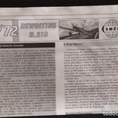 Maquetas: INSTRUCCIONES DE MONTAJE DEL DEWOITINE D-510 DE SMER. ESCALA 1/72. Lote 294119568