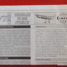 Maquetas: INSTRUCCIONES DE MONTAJE DEL FIESELER FI-156 DE SMER. ESCALA 1/72. Lote 294119638