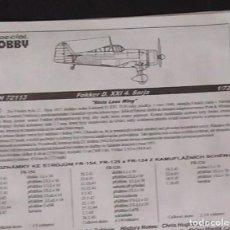 Maquetas: INSTRUCCIONES DE MONTAJE DEL FOKKER D-XXI DE SPECIAL HOBBY. ESCALA 1/72. Lote 294119778