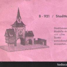 Maquetas: FALLER. B-921. STADTTOR. HOJA DE CONTROL DE CALIDAD- 11X 8 CM.. Lote 296687143