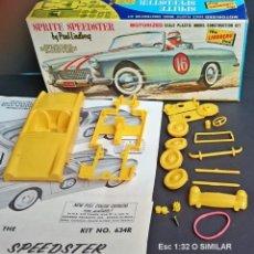 Maquetas: VINTAGE 1965 LINDBERG 634R : 60 AUSTIN HEALEY SPRITE SPEEDSTER / CON MOTOR POR GOMA. Lote 296872323