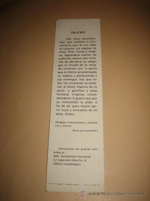 Coleccionismo Marcapáginas: MARCAPAGINAS ORACION CARMELITAS DESCALZAS - Foto 2 - 11657933