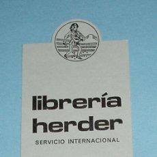Coleccionismo Marcapáginas: MARCAPÁGINAS LIBRERIA HERDER 5,8 X 17,2 CM. Lote 19227490