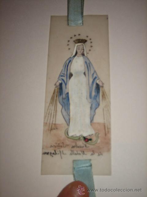 Coleccionismo Marcapáginas: MARCAPAGINAS RELIGIOSO PINTADO A MANO NUESTRA SEÑORA DE LA MEDALLA RELIGIOSA - Foto 3 - 25413884