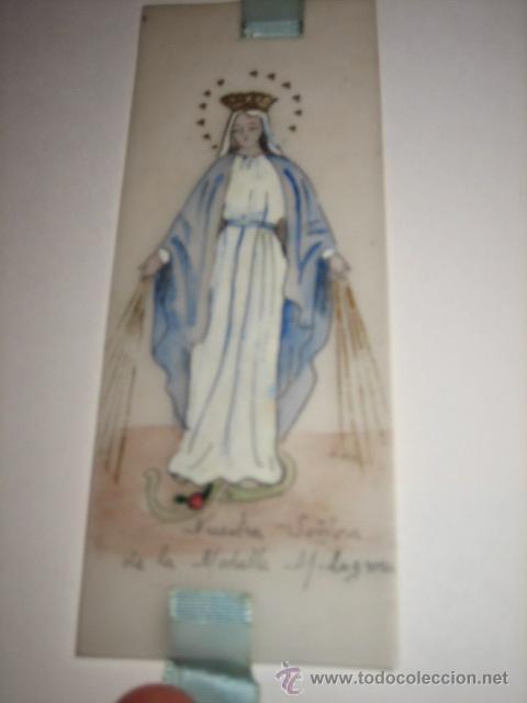 Coleccionismo Marcapáginas: MARCAPAGINAS RELIGIOSO PINTADO A MANO NUESTRA SEÑORA DE LA MEDALLA RELIGIOSA - Foto 5 - 25413884