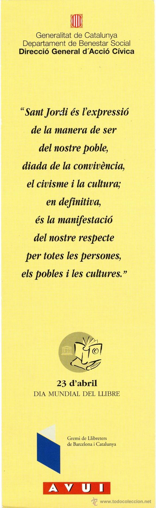 Coleccionismo Marcapáginas: Marcapáginas Dia Mundial del Llibre - Sant Jordi (Catalan) - Foto 2 - 105416504