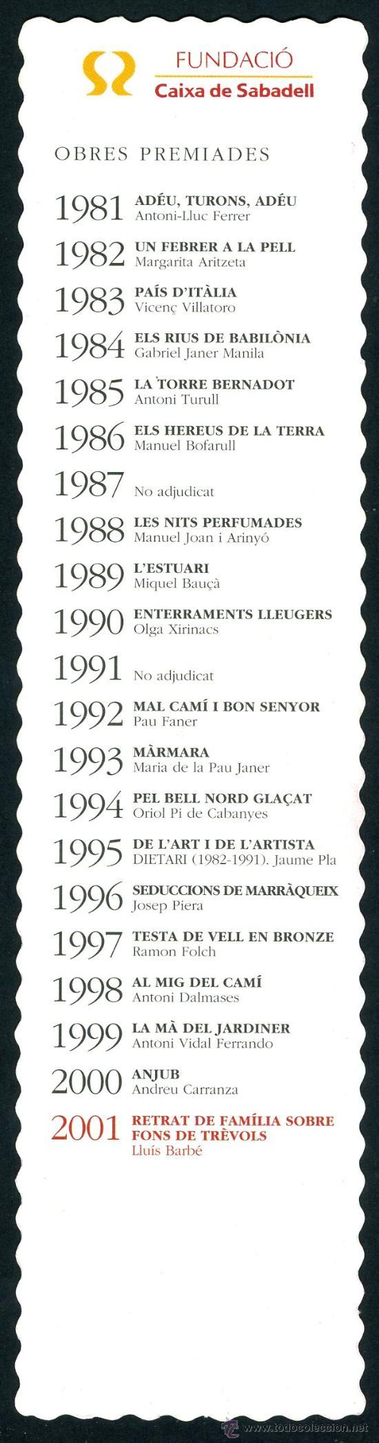 Coleccionismo Marcapáginas: Marcapáginas – Caixa Sabadell 2001 - Foto 2 - 74096622