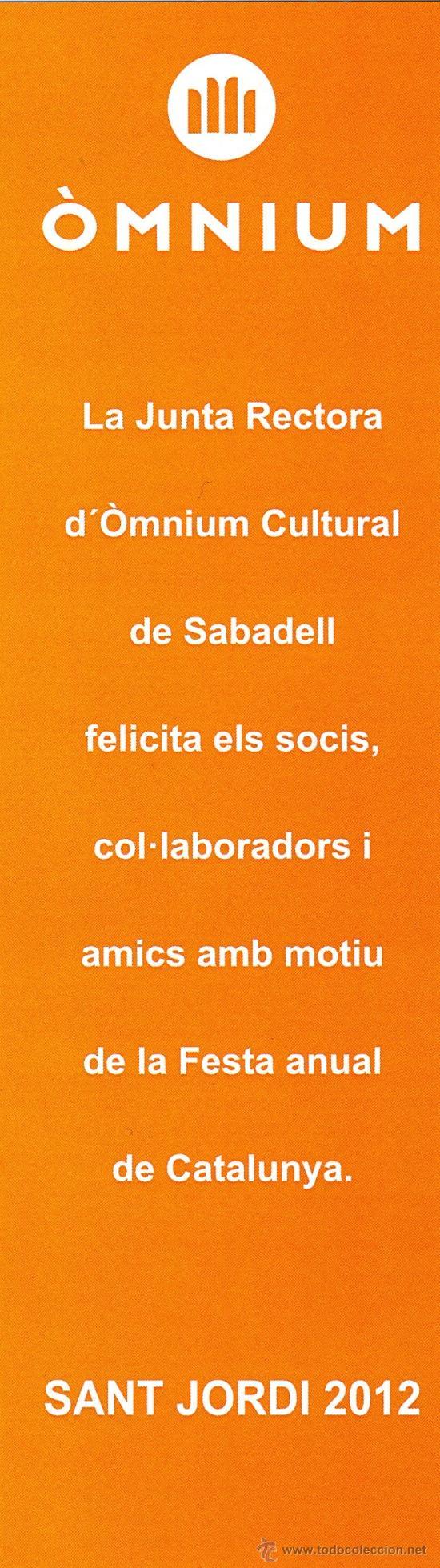 Coleccionismo Marcapáginas: Marcapáginas ÒMNIUN Sabadell – SANT JORDI 2012 - Foto 2 - 105416514
