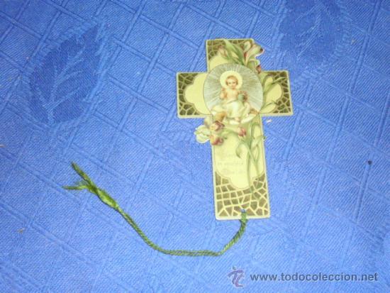 ANTIGUO PUNTO DE LECTURA MARCACAPAGINAS, NIÑO JESUS, HACIA 1900. MED. SIN CORDON 5,5X9,5 CM. (Coleccionismo - Marcapáginas)