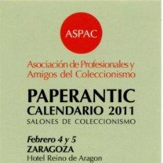 Coleccionismo Marcapáginas: MARCAPÁGINAS – PAPERANTIC CALENDARIO 2011 - CASTELLANO. Lote 178056637