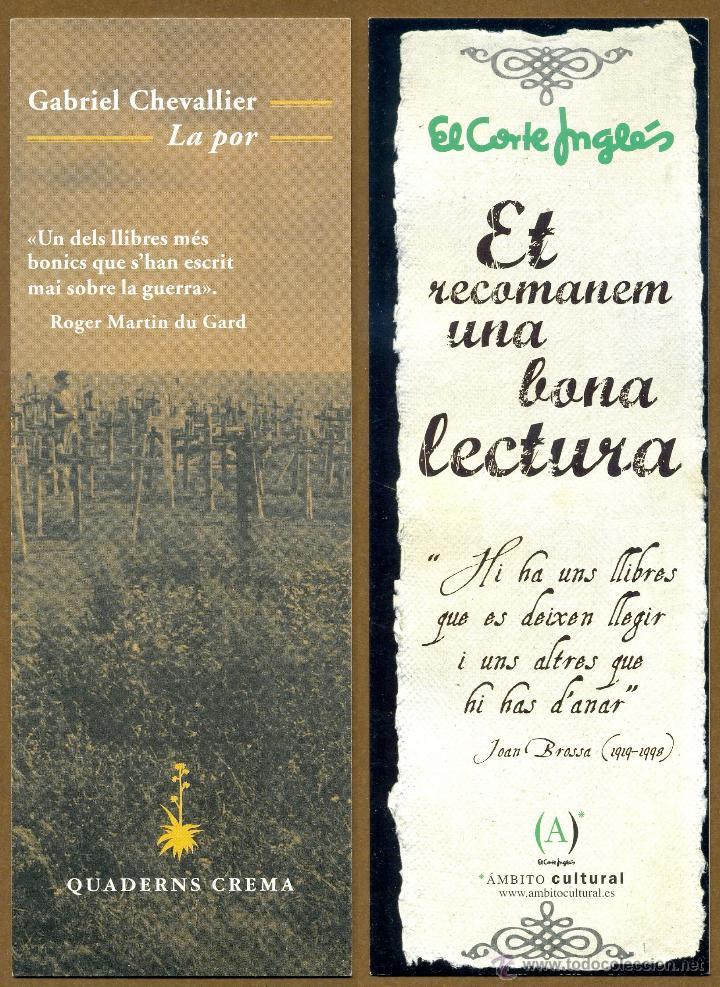 MARCAPÁGINAS EDITORIAL QUADENS CREMA - CORTE INGLES (Coleccionismo - Marcapáginas)