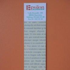 Collezionismo Segnalibri: MARCAPÁGINAS LLIBRERIA EPSILON NATURA - DIVERSOS AUTORES. Lote 42197744