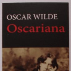 Coleccionismo Marcapáginas: MARCAPÁGINAS EDITORIAL:HERMIDA.OSCARINA.OSCAR WILDE.. Lote 98802456