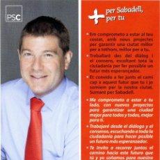 Coleccionismo Marcapáginas: MARCAPÁGINAS POLITICO PSC SABADELL – JOSEP AYUSO. Lote 44886763