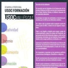 Coleccionismo Marcapáginas: MARCAPÁGINAS SINDICATO USOC FORMACIÓN. Lote 48355174