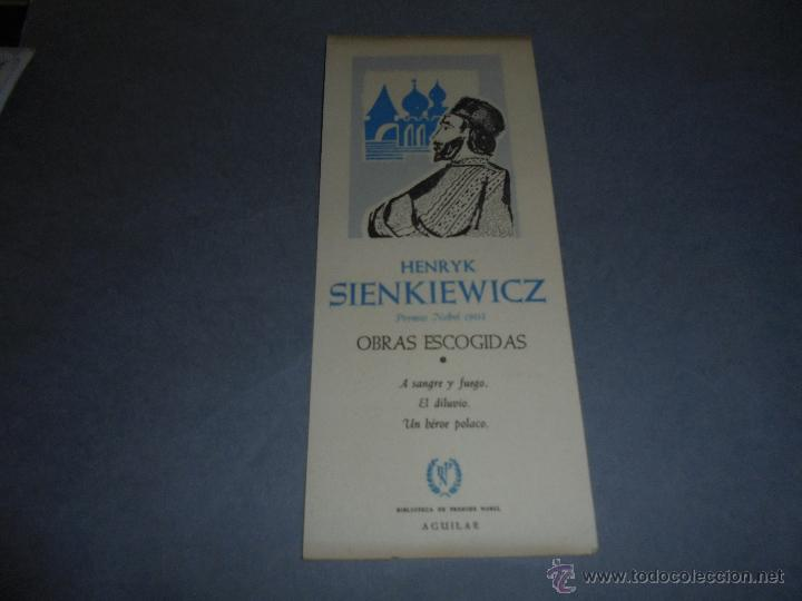 ANTIGUO MARCAPAGINAS O PUNTO DE LIBRO HENRYK SIENKIEWICZ - BIBLIOTECA PREMIOS NOBEL AGUILAR 19X8 CM (Coleccionismo - Marcapáginas)