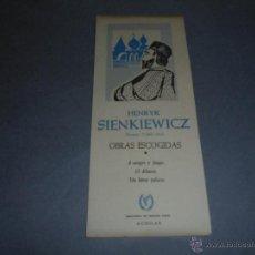 Coleccionismo Marcapáginas: ANTIGUO MARCAPAGINAS O PUNTO DE LIBRO HENRYK SIENKIEWICZ - BIBLIOTECA PREMIOS NOBEL AGUILAR 19X8 CM . Lote 52527974