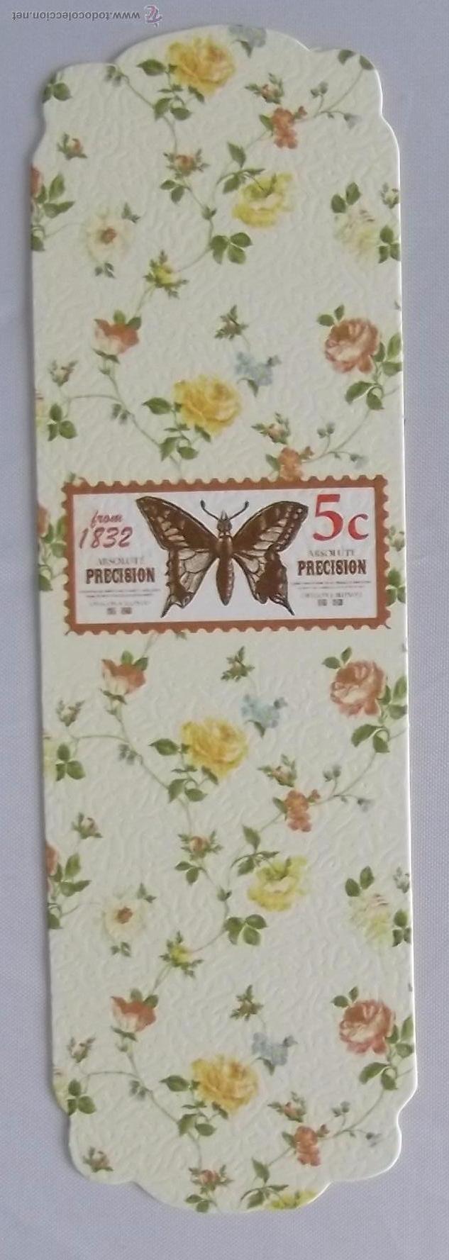 Marcapágina Carton Dibujo Sello Con Mariposa Y Comprar