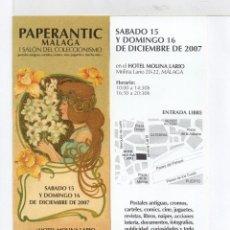 Coleccionismo Marcapáginas: BONITO MARCAPÁGINAS DE EDICIÓN PAPERANTIC MALAGA I SALÓN DE MALAGA . Lote 54944717