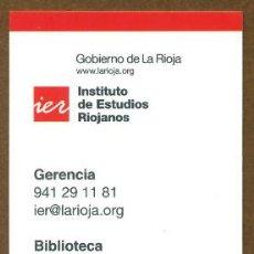 Coleccionismo Marcapáginas: MARCAPAGINAS INSTITUTO DE ESTUDIOS RIOJANOS - IER. Lote 57808841