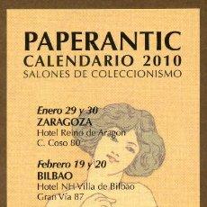 Coleccionismo Marcapáginas: MARCAPÁGINAS – PAPERANTIC CALENDARIO 2010 - CASTELLANO. Lote 120895687