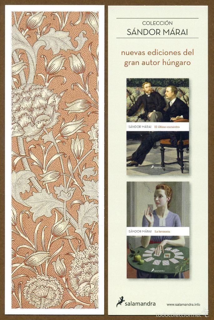 MARCAPÁGINAS ED. SALAMANDRA COLECCIÓN SANDOR MARAI (Coleccionismo - Marcapáginas)
