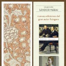 Coleccionismo Marcapáginas: MARCAPÁGINAS ED. SALAMANDRA COLECCIÓN SANDOR MARAI. Lote 210950767