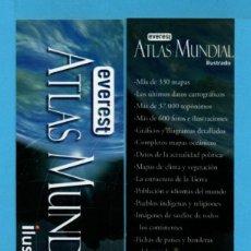Coleccionismo Marcapáginas: MARCAPÁGINAS DE EDICIONES DE EVEREST ATLAS MUNDIAL ILUSTRADO . Lote 71712399