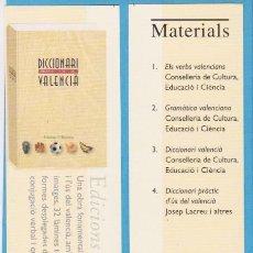 Coleccionismo Marcapáginas: DICCIONARI VALENCIÀ. BROMERA. PUNTO DE LIBRO / MARCAPÁGINAS. Lote 176531120