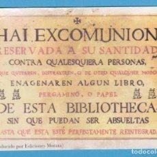 Coleccionismo Marcapáginas: HAI EXCOMUNIÓN. REPRODUCIDO POR EDICIONES MORATA. PUNTO DE LIBRO. Lote 173128560