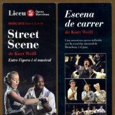 Coleccionismo Marcapáginas: MARCAPÁGINAS LICEU - STREET SCENE KURT WEILL. Lote 95824527