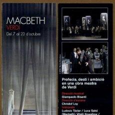 Coleccionismo Marcapáginas: MARCAPÁGINAS LICEU - MACBERTH VERDI. Lote 95824803