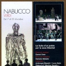 Coleccionismo Marcapáginas: MARCAPÁGINAS LICEU - NABUCCO VERDI. Lote 254485790