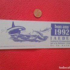 Coleccionismo Marcapáginas: MARCAPÁGINAS BOOK MARK BOOKMARK ORCA ORCAS CABO DE CREUS IAEDEN 1992 KILLER WHALE. ECOLOGÍA VER FOTO. Lote 98778251