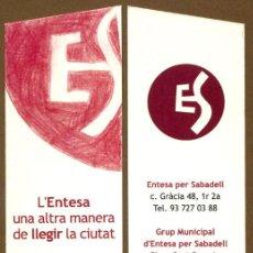 Coleccionismo Marcapáginas: MARCAPAGINAS L'ENTESA PER SABADELL - SANT JORDI 208 . Lote 107805883