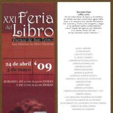 Coleccionismo Marcapáginas: MARCAPÁGINAS XXI FERIA DEL LIBRO - LAS PALMAS DE GRAN CANARIAS. Lote 116851023