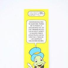 Coleccionismo Marcapáginas: MARCAPÁGINAS/PUNTO DE LIBRO - COLECCIÓN JOVIAL, PEPITO GRILLO/JIMINY CRICKET - EDICIONES RECREATIVAS. Lote 118459578