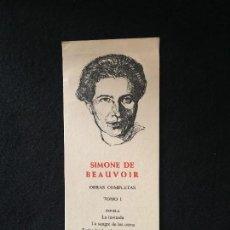 Coleccionismo Marcapáginas: SIMONE DE BEAUVOIR. OBRAS COMPLETAS. BIBL. DE AUTORES MODERNOS. AGUILAR. AÑOS 50 - 70. Lote 124924351