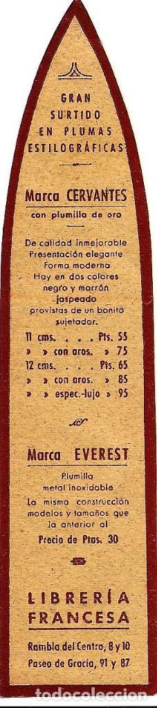 Coleccionismo Marcapáginas: MARCAPÁGINAS ANTIGUO LIBRERÍA FRANCESA - PLUMAS ESTILOGRÁFICAS - BARCELONA - Foto 2 - 126017935