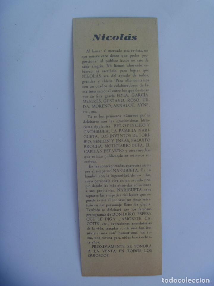 Coleccionismo Marcapáginas: BONITO MARCAPAGINAS CON DIBUJO PUBLICIDAD REVISTA ¨ NICOLAS ¨ , AÑOS 40 - Foto 2 - 155494238