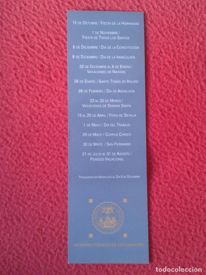 Coleccionismo Marcapáginas: MARCAPÁGINAS BOOK MARK BOOKMARK PUNTO DE LIBRO CALENDARIO UNIVERSIDAD SEVILLA CURSO 1996 1997 VER - Foto 2 - 164943526