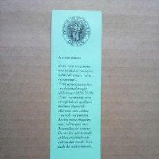 Coleccionismo Marcapáginas: LES CAVES DU PALAIS DE JUSTICE, MARCAPAGINAS SUIZO. Lote 165189594
